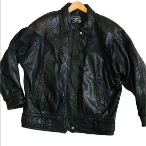 Manufacture de Cuir Albert Montréal   Black Leather Bomber Jacket Animal Prints